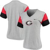 Nike Women's Heathered Gray/Red Georgia Bulldogs Breathe Team Sleeve Performance V-Neck T-Shirt