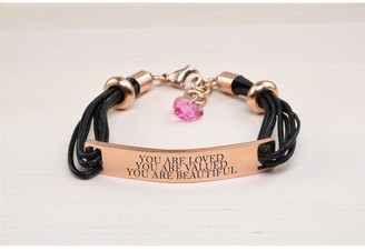 Pink Box Genuine Leather ID Bracelet with Crystals from Swarovski - YOU ARE LOVED