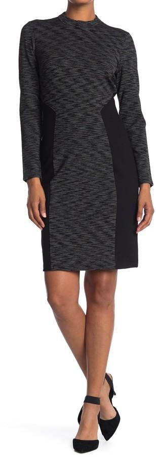 T Tahari Colorblock Long Sleeve Sheath Dress