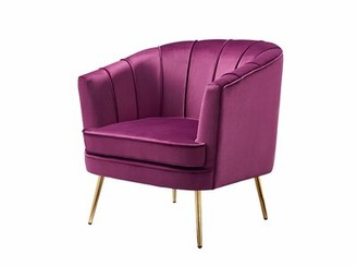 Mercer41 Eustaquio Barrel Chair Fabric: Soft Pink Velvet