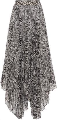 Isabel Marant Alena Zebra-Print Pleated Georgette Skirt