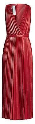Valentino Women's V-Neck Pleated Leather Maxi Dress
