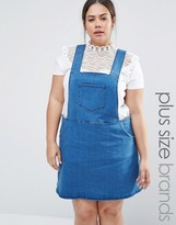 NVME Plus Denim Pinafore Dress With Side Zips