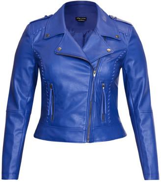 City Chic Whip Stitch Biker Jacket - cobalt