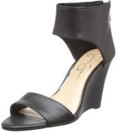 Jessica Simpson Mera Womens US Size 5.5 Black Leather Wedge Sandals Shoes