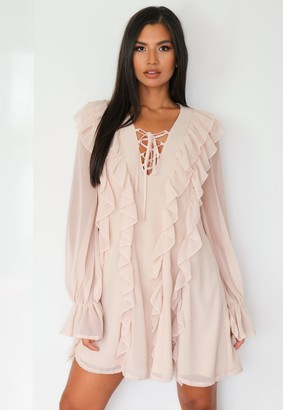 Missguided Stone Ruffle Front Lace Up Mini Dress