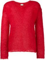 Saint Laurent knitted V neck jumper - women - Nylon/Mohair/Wool - S