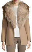 Fleurette Belted Fur-Trim Wrap Coat, Camel