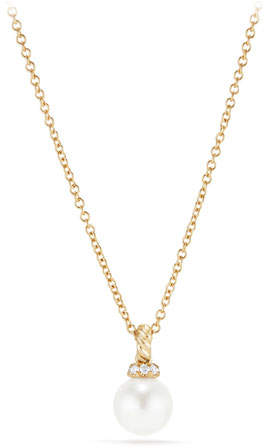 David Yurman 6mm Solari Pearl & Diamond Pendant Necklace