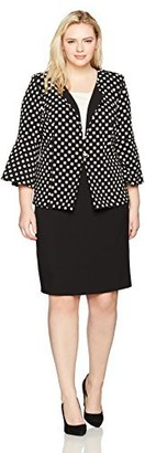 Danny And Nicole Danny & Nicole Women's Plus Size Full Figured Two Piece Polka Dot Jacket and 2fer Dress
