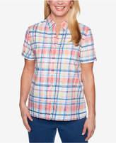 Alfred Dunner Sun City Short-Sleeve Mixed-Print Burnout Shirt