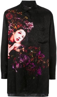 Yohji Yamamoto mixed-print long shirt
