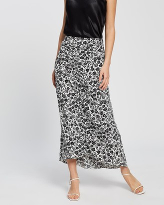 Dorothy Perkins Mono Ditsy Ruched Midi Skirt