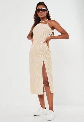 Missguided Mustard Stripe Cami Tie Back Midi Dress