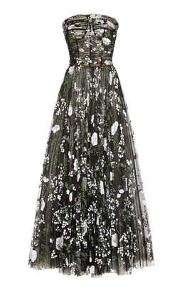 Oscar de la Renta Printed Organza Maxi Dress
