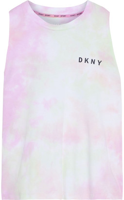DKNY Printed Tie-dyed Cotton-jersey Tank