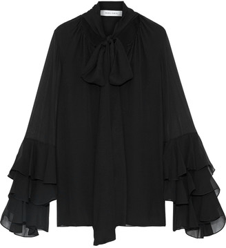 Prabal Gurung Pussy-bow Tiered Silk-chiffon Blouse