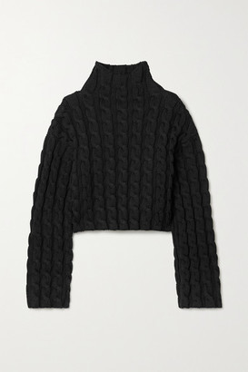 Balenciaga Cropped Cable-knit Turtleneck Sweater - Black