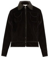 Wales Bonner Slee leather-trim cotton-velvet bomber jacket
