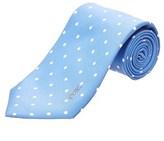 Saint Laurent Light Blue Polka Dot Silk Tie.