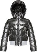 Moncler Verglas Metallic Quilted Coat, Size 4-6