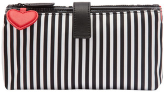 Lulu Guinness Black/Chalk/Red Heart & Stripes Double Makeup Bag