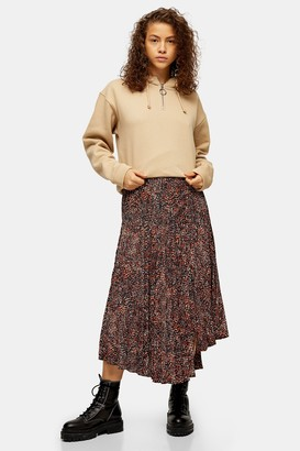 Topshop Womens Brown Animal Textured Pleated Skirt - Brown