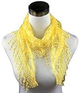 Fashion Lace Floral Print Ninasill Scarf Shawl,14540CM (Yellow)