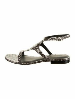 Alexander Wang Snakeskin Flat Sandals Grey