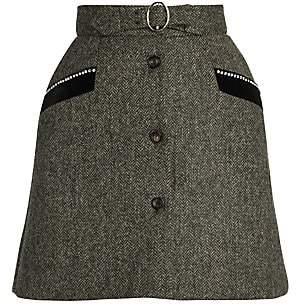 Miu Miu Women's Virgin Wool Shetland Herringbone Mini Skirt