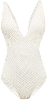 Melissa Odabash Del Mar Cut-out Metallic-jacquard Swimsuit - Womens - White Multi