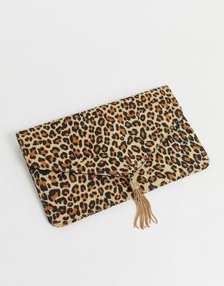 Asos Design DESIGN tassel clutch bag in leopard-Multi