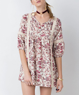 Jane Ivory & Red Floral Crochet-Accent Button-Front Tunic