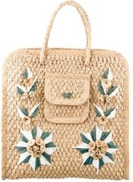 Anya Hindmarch Floral Embellished Straw Tote