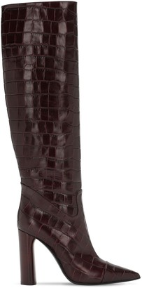 Casadei 100mm Donna Croc Embossed Leather Boots