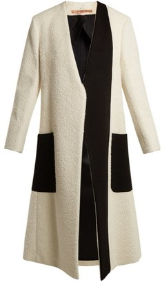Summa - Collarless Bi-colour Coat - White Black