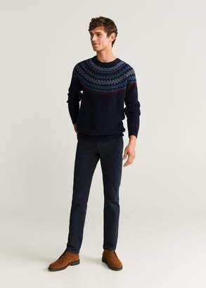 MANGO MAN - Jacquard cotton sweater dark navy - XS - Men