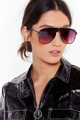 Nasty Gal Womens Seeing Red Oversized Aviator Sunglasses - Black - One Size