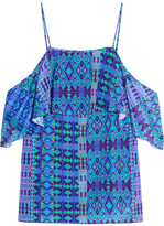 Matthew Williamson Off-the-shoulder Printed Silk Crepe De Chine Top - Cobalt blue