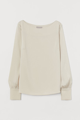 H&M Satin Boat-necked Blouse - Beige