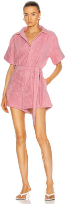 Terry. Belted Romper in Pink | FWRD