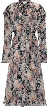 Zimmermann Tempest Pussy-bow Floral-print Georgette Midi Dress