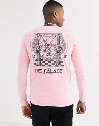 Asos Design DESIGN long sleeve t-shirt with mystic back and body print-Pink