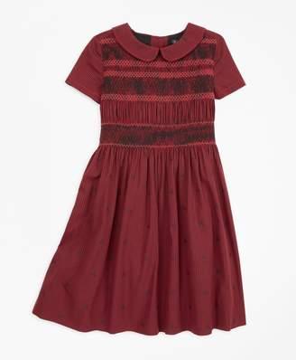 Brooks Brothers Girls Cotton Short-Sleeve Smocked Dress