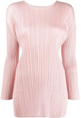Pleats Please Issey Miyake long-sleeved pleated long line top