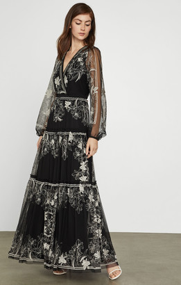 BCBGMAXAZRIA Lily Embroidered Tulle Dress