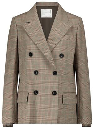 Sacai Checked cotton-blend blazer