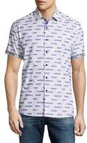 Robert Graham Star Dunes Printed Short-Sleeve Woven Shirt, White Pattern