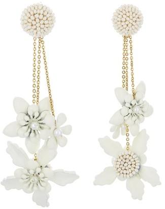 Oscar de la Renta Embroidered Flower Earrings