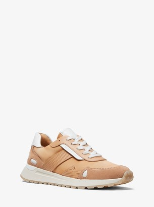 MICHAEL Michael Kors Monroe Two-Tone Canvas and Leather Trainer